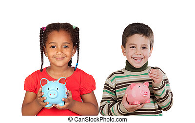 Two happy child holding a money box