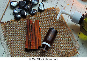 Essential oil and cinnamon - all for Spa procedures