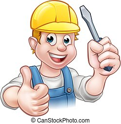 Handyman Electrician With Screwdriver - An electrician...