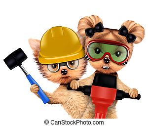 Funny couple of puppies with tools - Funny couple of puppies...