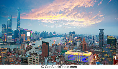 Aerial photography at Shanghai bund Skyline of Sunset glow