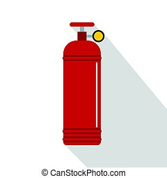 Red compressed gas container icon, flat style - Red...