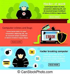 Hacker breaking banner horizontal set, flat style
