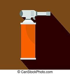 Orange gas cylinder icon, flat style - Orange gas cylinder...