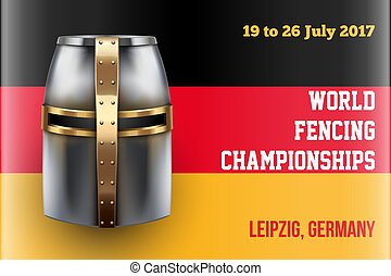 Fencing event poster - Knight Helmet on German Flag. Event...