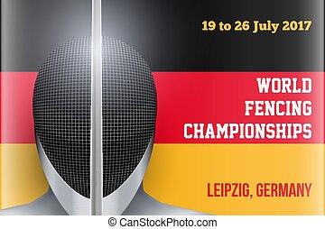Fencing event poster - Fencing Helmet on German Flag...
