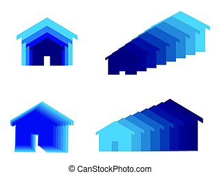Home icon - set of home or house icons in blue