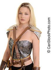 isolated female warrior on white