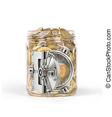 Open safe doors on a glass jar with coins