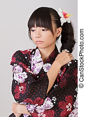 Lonely woman of Asian with japanese traditional clothes.