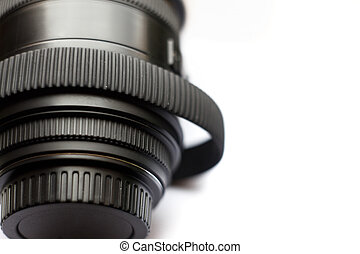 SLR photography lens with stretched over time, rubber ring...