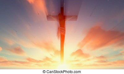 Jesus cross against heavenly red sky with pigeons flying
