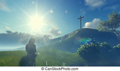 Woman praying at Jesus cross against beautiful morning sun,...