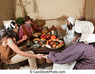 Giving thanks - Reenactment scene of the first Thanksgiving...