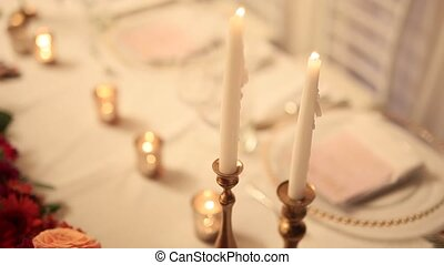 Candles at the wedding banquet. Wedding in Montenegro.