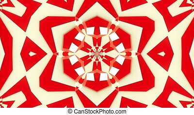 Mosaic kaleidoscope in red and white colors