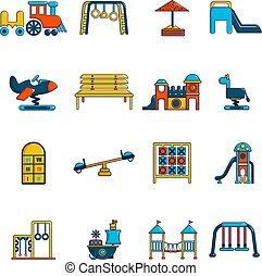 Playground equipment icons set, cartoon style - Playground...