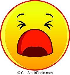 Yawning yellow emoticon icon, cartoon style