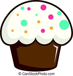 Cupcake garnished with sprinkles icon