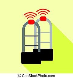 Shoplifter scanner icon, flat style - Shoplifter scanner...