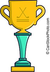 Golf cup winner gold icon, cartoon style - Golf cup winner...