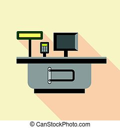 Cash supermarket desk icon, flat style - Cash supermarket...