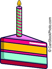 Piece of birthday cake with candle icon
