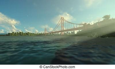 Goldengate Bridge against beautiful morning sun rays