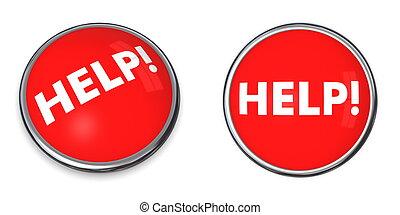 Red Round Help Button