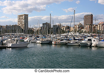 Alicante - Marina and motorboats in Alicante, Comunidad...