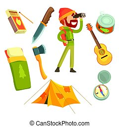 Man with touristic backpack looking through binoculars. Camping equipment. Cartoon detailed Illustrations