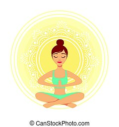 Young yoga woman meditating in the lotus position with praying hands, colorful character vector Illustration