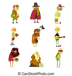 Homeless men characters set. Unemployment and homeless issues cartoon vector Illustrations