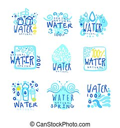 Natural water set for label design. Colorful hand drawn illustrations
