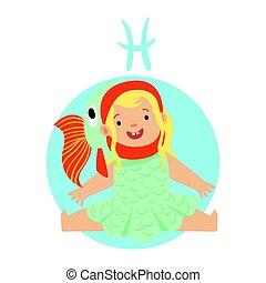 mignon, peu, coloré,  horoscope, signe, caractère,  Illustration, vecteur, astrologique, poissons,  girl, Symbole