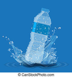 Bottle with clean pure water with water splash....