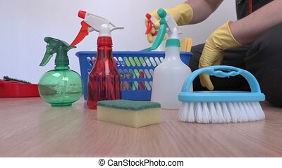 Cleaner checking cleaning equipment and accessories
