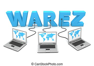 Multiple Wired To Warez - three laptops with a world map...