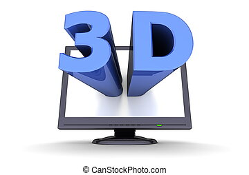 Black Flat Screen Monitor - Blue Word 3D - glossy blue word...