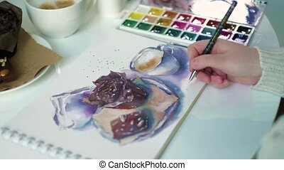 Woman artist painting watercolor paints 4k - Woman artist...