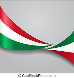 Hungarian wavy flag. Vector illustration. - Hungarian flag...