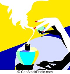 New fragrance. - Creative conceptual vector. Woman with a...