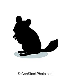 Chinchilla pet rodent black silhouette animal. Vector...