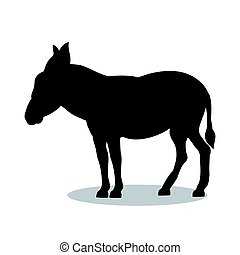 Donkey farm mammal black silhouette animal. Vector...
