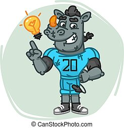 Rhino Football Player Came Up With an Idea. Vector...