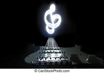 Freezelight treble clef illuminated electro guitar. Low key.