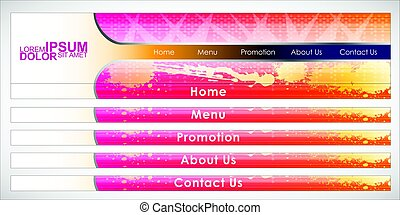 Vector Header Horizontal Web Menu Design