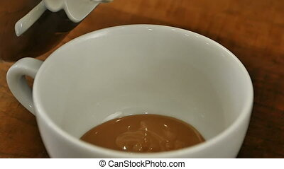 Pouring stream milk into a cup of coffee