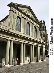 Fribourg - Church in Fribourg, Switzerland. Cathedral in the...