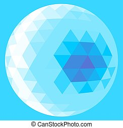 light blue triangle sphere - Abstract low poly triangulation...